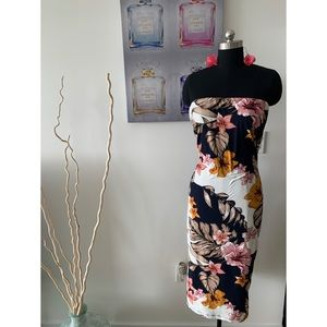 Floral Strapless Mido Dress